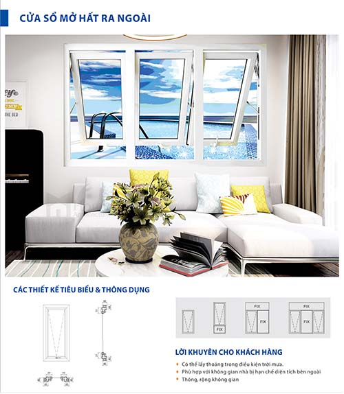 Cửa sổ mở hất ra ngoài - Cửa nhôm xingfa Bình Dương