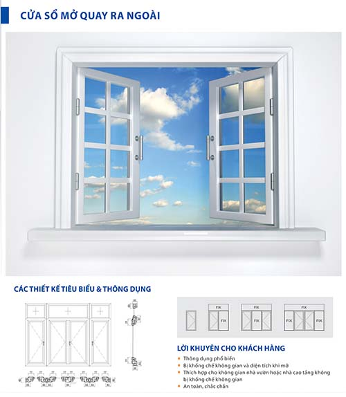 Cửa sổ mở quay ra ngoài - Cửa nhôm xingfa Bình Dương